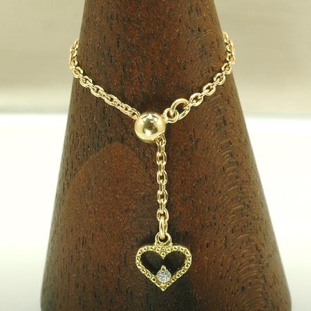 チェーン リング ダイヤモンド 18金 イエローゴールド K18 YG スライドアジャスター付き