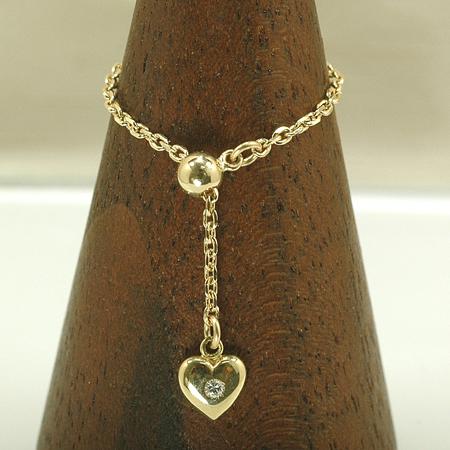 チェーン リング ダイヤモンド 18金 イエローゴールド K18 YG リング スライドアジャスター付き