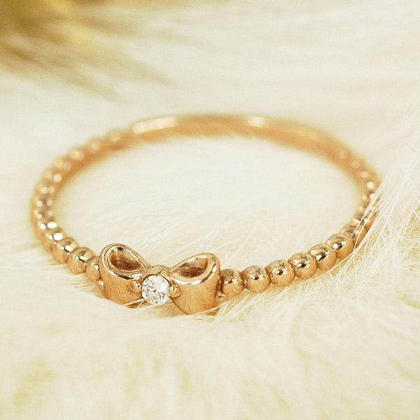 大人カワイイリボン&ダイヤリング ダイヤモンド 18金 ピンクゴールド K18 PG 送料無料 ギフト プレゼント ジュエリー Xmas早割