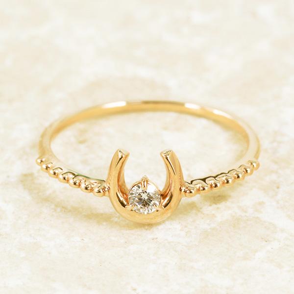 馬蹄モチーフ&ダイヤリング ダイヤモンド 10金 ピンクゴールド K10 PG 送料無料 ギフト プレゼント ジュエリー Xmas早割