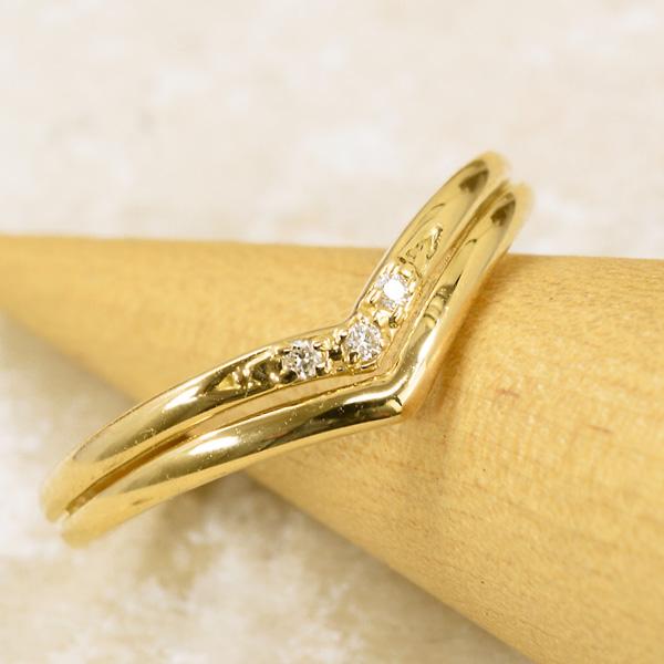 はっきりとしたラインがポイントリング ダイヤモンド 18金 イエローゴールド K18 YG 送料無料 ギフト プレゼント ジュエリー Xmas早割