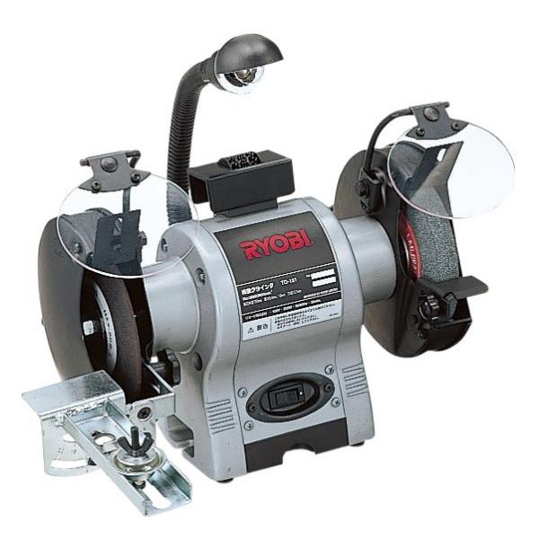 【リョービ】両頭グラインダ 100V 300W 刃物研磨治具セット、手元ライト、ドレッサ付 TG-151