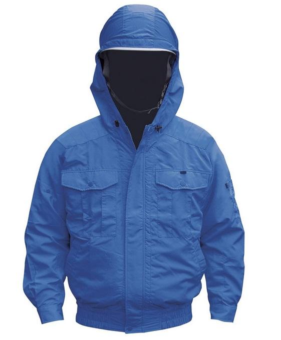 空調服 NB-101A ブルー NB-101 通常バッテリー電装品セット 肩・袖補強あり フード付 チタン仕様 NSP