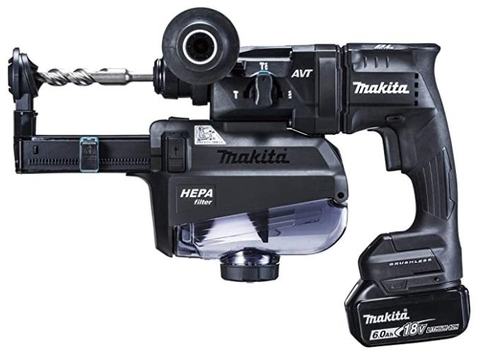 マキタ 18mm 充電式ハンマドリル HR182DGXVB 黒 集じんシステム付 コンクリート穴あけ専用 バッテリBL1860Bx2本+充電器DC18RF+ケース付 18V対応 makita ♪