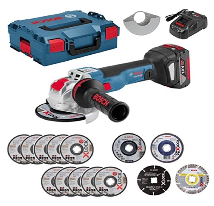 超特価 ボッシュ コードレスディスクグラインダー GWX18V-10SC5J バッテリ8.0Ah1個+充電器+L-BOXX136N+アクセサリー15個特別付属付 砥石径125φ X-LOCKシステム 18V対応 BOSCH