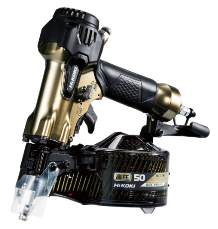 HiKOKI 高圧ロール釘打機 エアダスタ機構搭載 NV50H2(S) ハイゴールド 質量1.2kg 低反動一体成形ピストン ソフトグリップ採用 ハイコーキ 日立