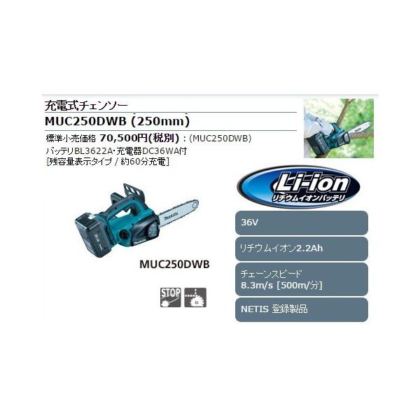 送料無料【マキタ】充電式チェンソー バッテリ+充電器付 2.2Ah ガイドバー長250mm 工具レス MUC250DWB 36V対応