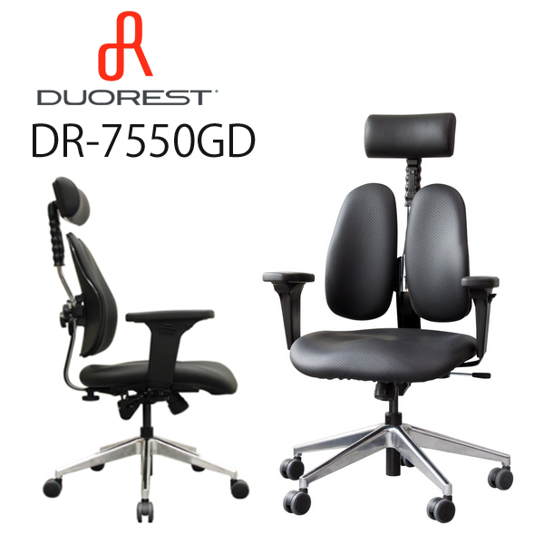 【送料無料】【メーカー直送】デュオレスト DUOREST LEADERS DR-7550GDブラック PUレザーオフィスチェア 高機能チェア パソコンチェア デスクチェア 書斎椅子 PCチェア OAチェア