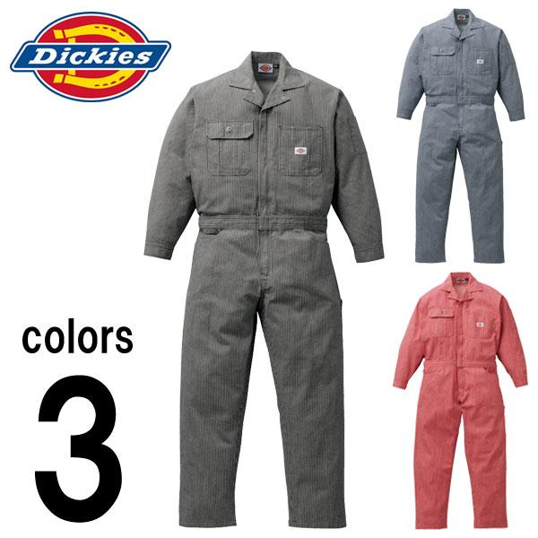 【3L~5L】【Dickies(ディッキーズ)】【秋冬作業服】年間物ヒッコリーつなぎ服 801