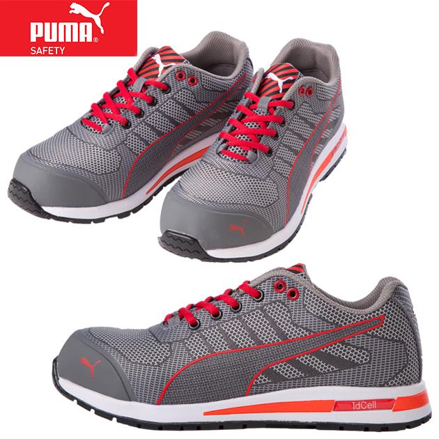 安全靴 PUMA Xelerate Knit Low エクセレレイト ニット ロー レッド 64.237.0 ワークシューズ セーフティーシューズ 作業靴 メンズ