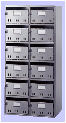 神栄ホームクリエイト (旧:新協和) 集合郵便受箱(SH型) 12戸用(6段2列) SK-112H (形式:SH-12) ステンレス製