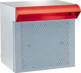 ハッピーポスト ファミール NO.673-R ステンレス製 ポスト口・受箱一体型 ポスト口:赤 本体:ヘアーライン カギなしタイプ