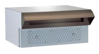 ハッピーポスト ファミール NO.672-T ステンレス製 ポスト口・受箱一体型 ポスト口:茶 本体:ヘアーライン カギなしタイプ