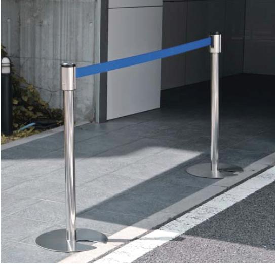 リールパーテーションスタンド KN型×1本 ステンレス製 ベルト色:赤・青・緑からお選びください 杉田エース