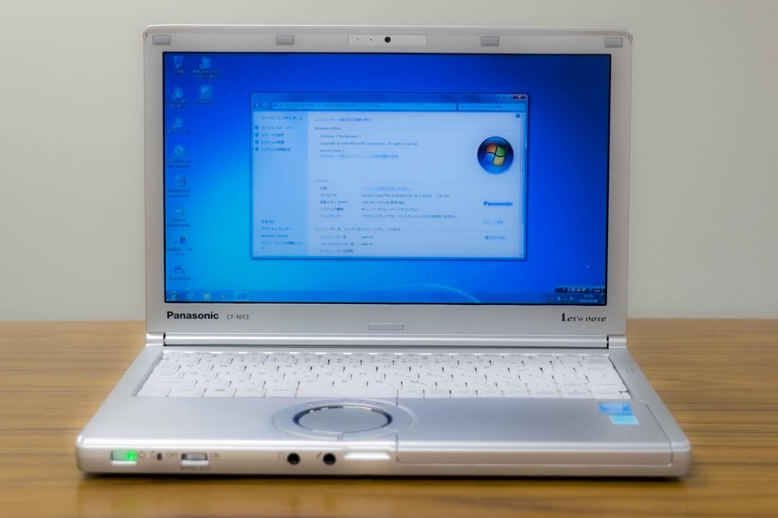 Panasonic レッツノート CF-NX3EDHTS B5ノートパソコン, Windows 7 Professional 64bit, Core i5-4300U, メモリ4GB(4GBx1), 320GB HDD, 累積使用時間:4260時間【中古】