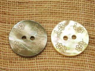 在庫限り グレー ベージュ お花模様 レーザー彫刻 アワビ貝ボタン-23mmSBT-16664-23 選択 ネコポス便OK 数量は多