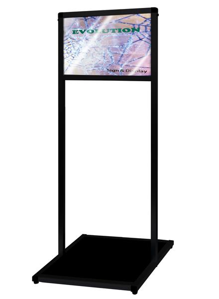 ブラックバリウスメッセージスタンド ACタイプ A3横 BVAMSAC-A3Y / 【送料無料】【日本製】【頑丈】 立て看板 スタンド看板 T型看板 店舗前看板 ポスター入れ替え式 飲食 店舗 看板ーサイン 2本ポールタイプ おしゃれ 薄型 和風