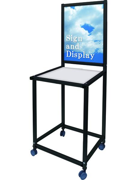 ブラックサインテーブルA2 白 450×800 BSGTB450×800-A2-W / 【送料無料】【日本製】【頑丈】 看板 スタンド ポスター 陳列棚 テーブル 展示 パネル付き キャスター