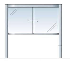 アルミ掲示板 LED 掲示板 自立 大型看板 ガラス掲示板 屋外 AGP-1810【LED付き】