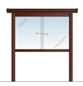 アルミ掲示板 和風 和風掲示板 自立 電飾 大型看板 ウッド調 ガラス掲示板 屋外 AGPY-1510【LED付き】