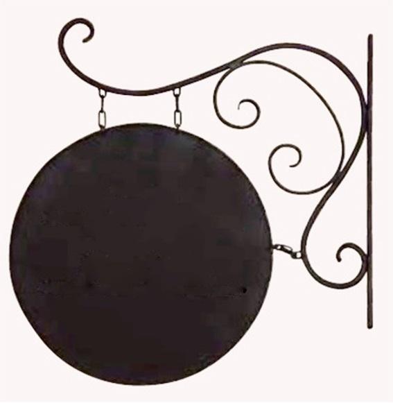 【本体のみ・印刷なし】サインプレート C型 アイアン ブラケット サイン ヨーロッパ ガーデン ガーデニング アンティーク 看板 輸入雑貨 ヨーロピアン 両面 屋外対応