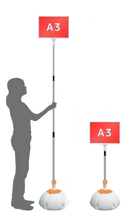 【ウエイト付き】 軽量 伸縮 差替式 プラカード 看板 手持ち看板 A3-両面【本体のみ】