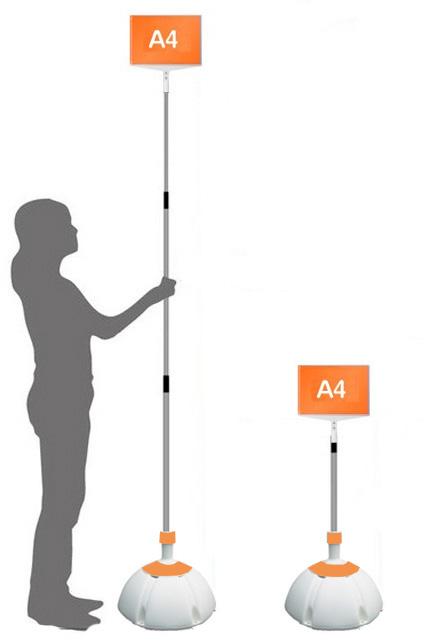 【ウエイト付き】 軽量 伸縮 差替式 プラカード 看板 手持ち看板 A4-両面【本体のみ】