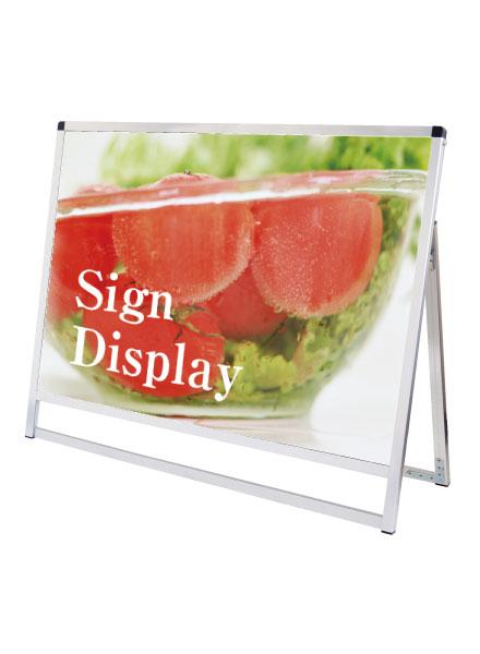 スタンド看板 立て看板 店舗看板 A型看板 シルバー 屋外 片面 VASKAP-A0YLK【デザイン作製】