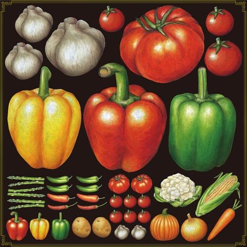 シール パプリカ トマト 野菜 装飾 デコレーションシール チョークアート 窓ガラス 黒板 看板 POP ステッカー (最低購入数量3枚~)