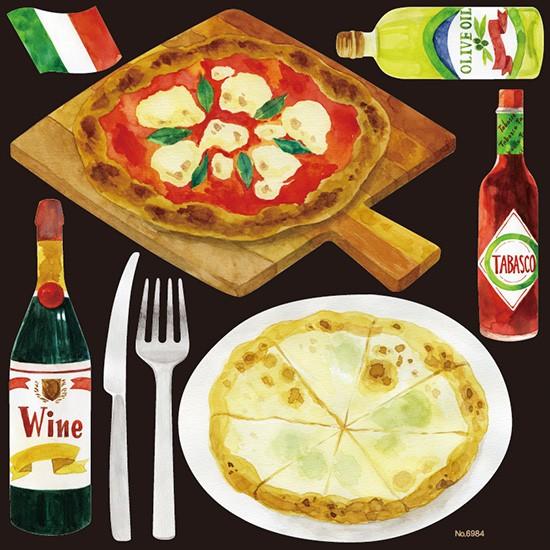 シール 洋食カフェ ピザ ピッツァ ワイン マルゲリータ タバスコ 装飾 デコレーションシール チョークアート 窓ガラス 黒板 看板 POP ステッカー (最低購入数量3枚~)