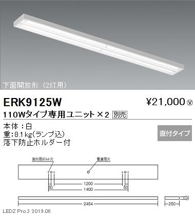 遠藤照明 施設照明 直管形LEDベースライト 本体 110Wタイプ 直付 下面開放形 2灯用 ERK9125W ※ユニット別売