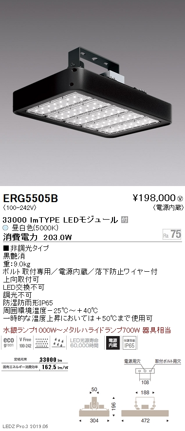 遠藤照明 高天井用照明 防湿防塵軽量小型シーリングライト 33000lmTYPE 5000K(昼白色) ERG5505B