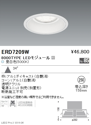 遠藤照明 アウトドアライト 軒下用ベースダウンライト Φ250 広角配光 8000TYPE