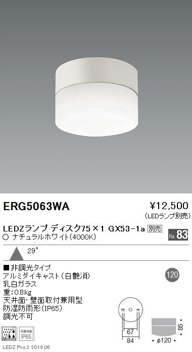遠藤照明 条件付き送料無料 アウトドアライト 軒下用シーリングダウンライト Disk75 ERG5063WA 格安 プレゼント ※ランプ別売 本体
