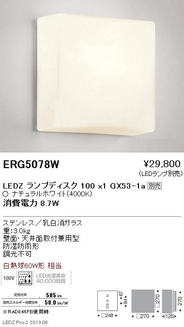 遠藤照明 アウトドアライト ブラケット 本体 Disk100 ERG5078W ※ランプ別売
