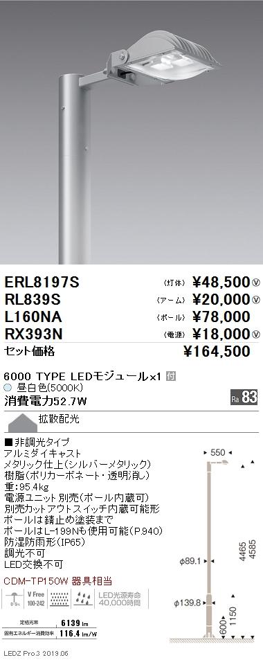 遠藤照明 アウトドアライト ポール灯 1灯 灯体+アーム+ポール+電源セット 拡散配光 6000TYPE 5000K(昼白色) ERL8197S