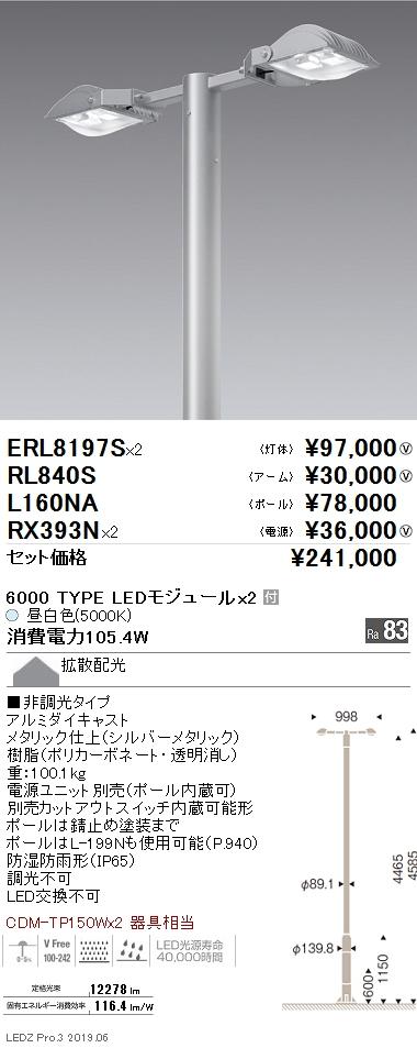 遠藤照明 アウトドアライト ポール灯 2灯 灯体+アーム+ポール+電源セット 拡散配光 6000TYPE 5000K(昼白色) ERL8197S