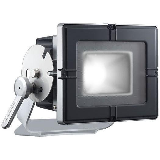 岩崎電気 E35203W/NSAN8 レディオックフラッドキューブ 160Wタイプ(水銀ランプ400W角形投光器相当) 昼白色 台座付アーム グレイメタリック・ブラック