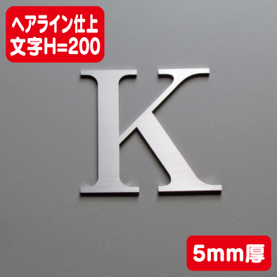 ステンレス切文字 ヘアライン仕上げ 5mm厚 文字H=200