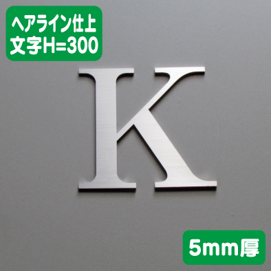 ステンレス切文字 ヘアライン仕上げ 5mm厚 文字H=300