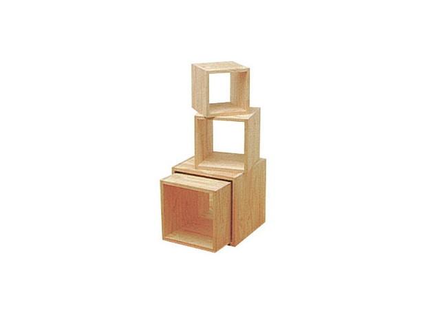 木製サイコロボックス 白木(無塗装) 40cm角 547G-40173***