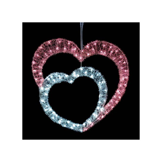 東京大西造花装飾 耐水60cm110球広角型LEDホワイトピンクグローハート DILI61201【送料別途】