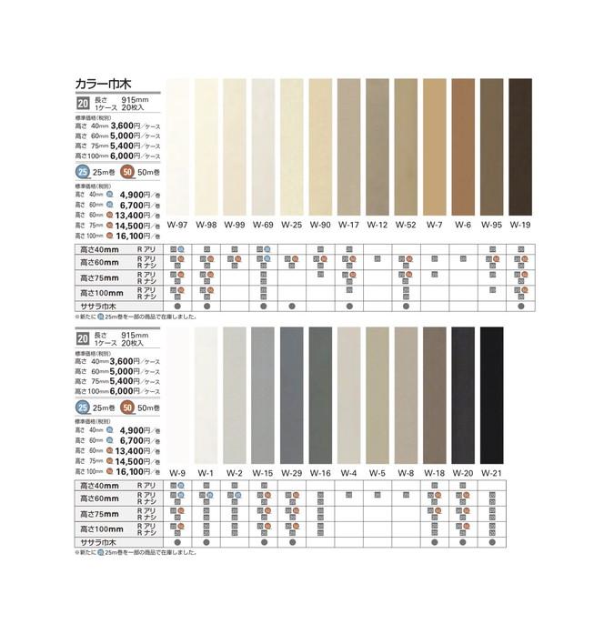 【1巻単位】サンゲツ 巾木 カラー巾木(50m巻) H60 R有り W-97-6RM