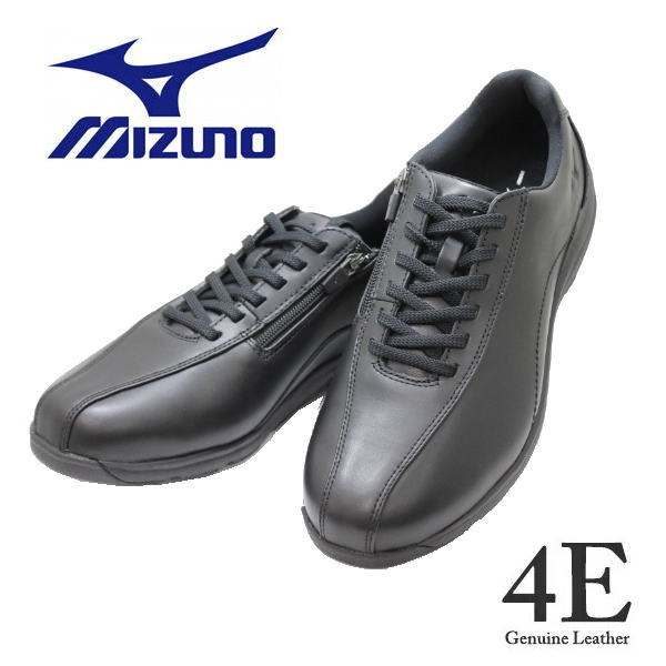 送料無料 メンズウォーキングシューズ MIZUNOミズノ B1GC 191809 黒 SW 4E( LD40 5 SW) 本革 幅広 ワイド 靴 カジュアル