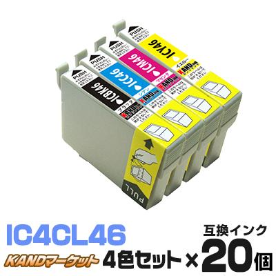 インク エプソン EPSON IC4CL46 ×20 IC46 ICBK46 ICC46 ICM46 ICY46 4色セット 46 4色パック 送料無料 プリンターインク インクカートリッジ 互換インク いんく インキ インクジェット PX-101 PX-401A PX-402A PX-501A PX-A62 黒 ブラック