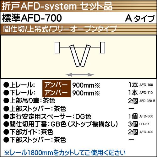 【エントリーでポイントさらに5倍】標準AFD-700使用折戸 1組用セット品 Aタイプ 【アトム】 アンバーレール長さ900mm用