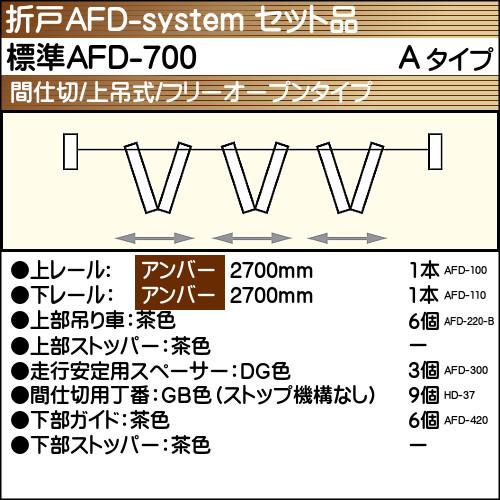 【エントリーでポイントさらに5倍】標準AFD-700使用折戸 3組用セット品 Aタイプ 【アトム】 アンバーレール長さ2700mm用
