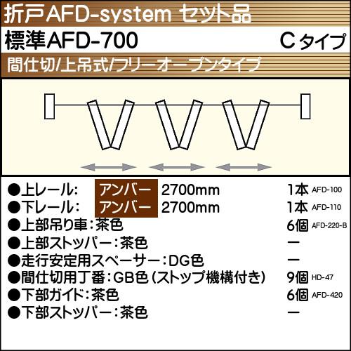 【エントリーでポイントさらに5倍】標準AFD-700使用折戸 3組用セット品 Cタイプ 【アトム】 アンバーレール長さ2700mm用