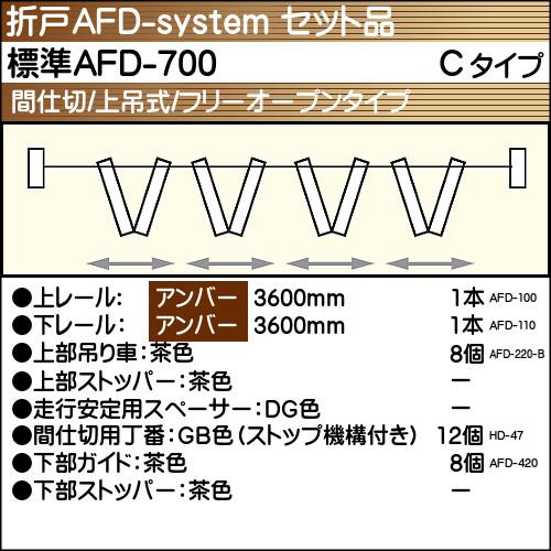 【エントリーでポイントさらに5倍】標準AFD-700使用折戸 4組用セット品 Cタイプ 【アトム】 アンバーレール長さ3600mm用