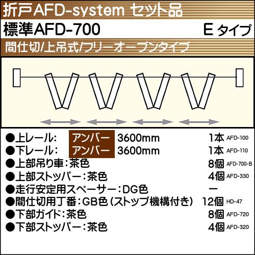 【エントリーでポイントさらに5倍】標準AFD-700使用折戸 4組用セット品 Eタイプ 【アトム】 アンバーレール長さ3600mm用